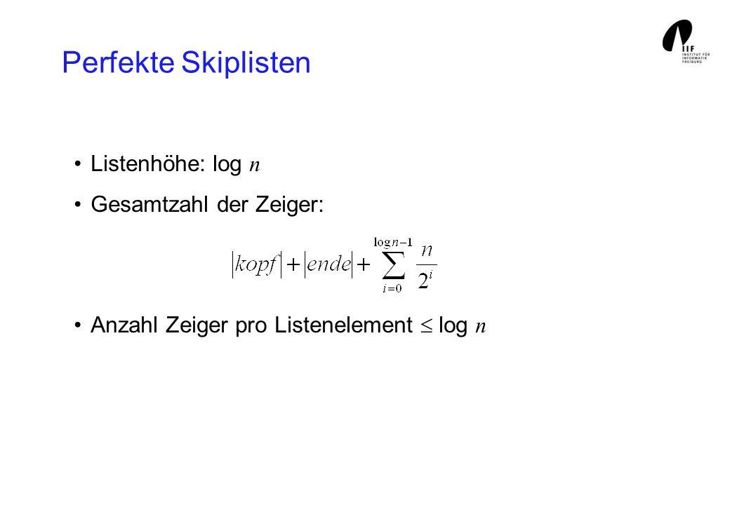 Perfekte Skiplisten Listenhöhe: log n Gesamtzahl der Zeiger: Anzahl Zeiger pro Listenelement log n