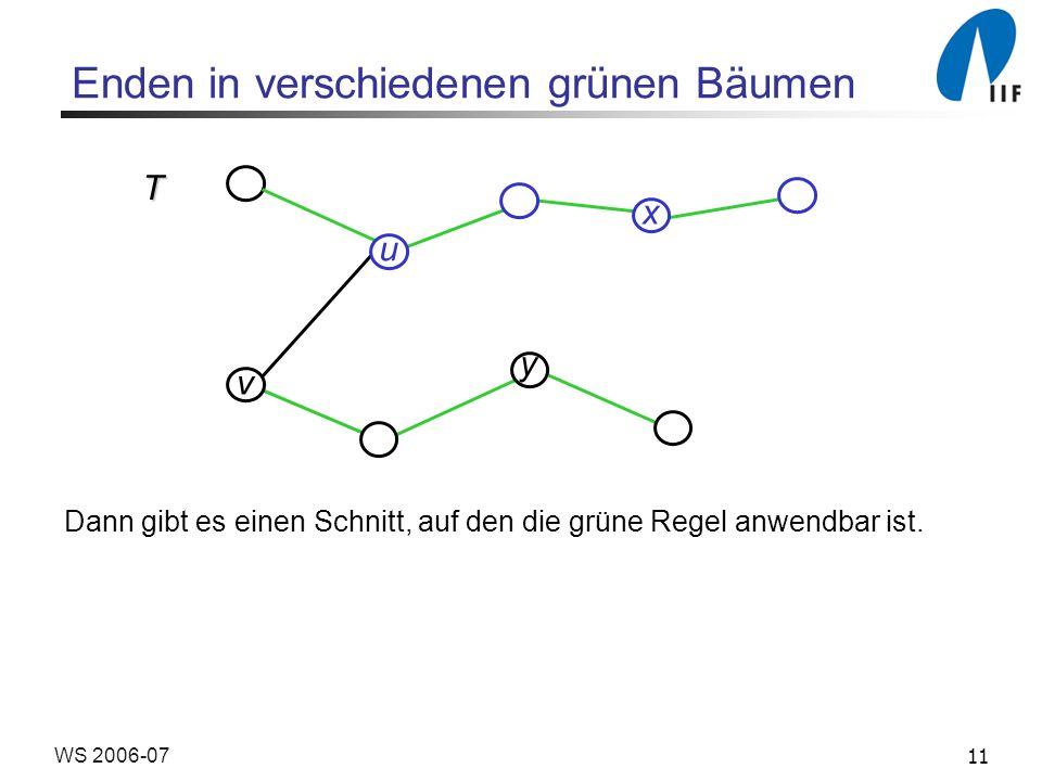 11WS 2006-07 Enden in verschiedenen grünen Bäumen Dann gibt es einen Schnitt, auf den die grüne Regel anwendbar ist.