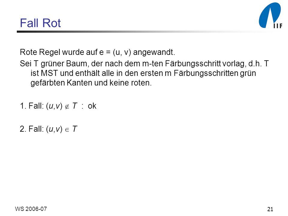 21WS 2006-07 Fall Rot Rote Regel wurde auf e = (u, v) angewandt.