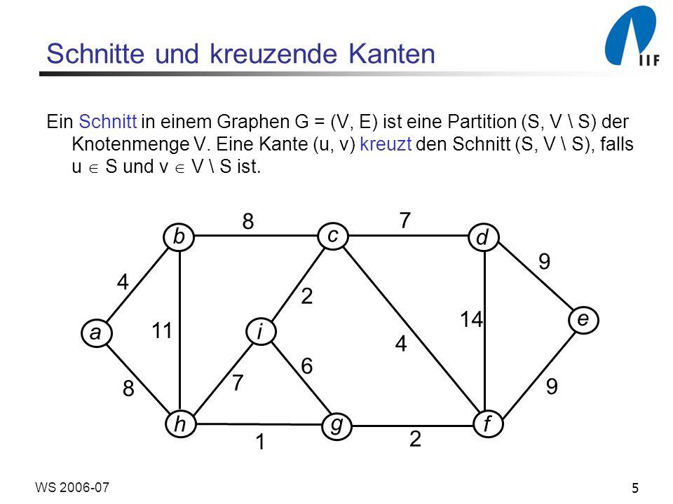 5WS 2006-07 Schnitte und kreuzende Kanten Ein Schnitt in einem Graphen G = (V, E) ist eine Partition (S, V \ S) der Knotenmenge V.