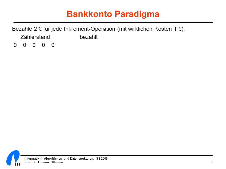 Informatik II: Algorithmen und Datenstrukturen, SS 2008 Prof. Dr. Thomas Ottmann5 Bankkonto Paradigma Bezahle 2 für jede Inkrement-Operation (mit wirk