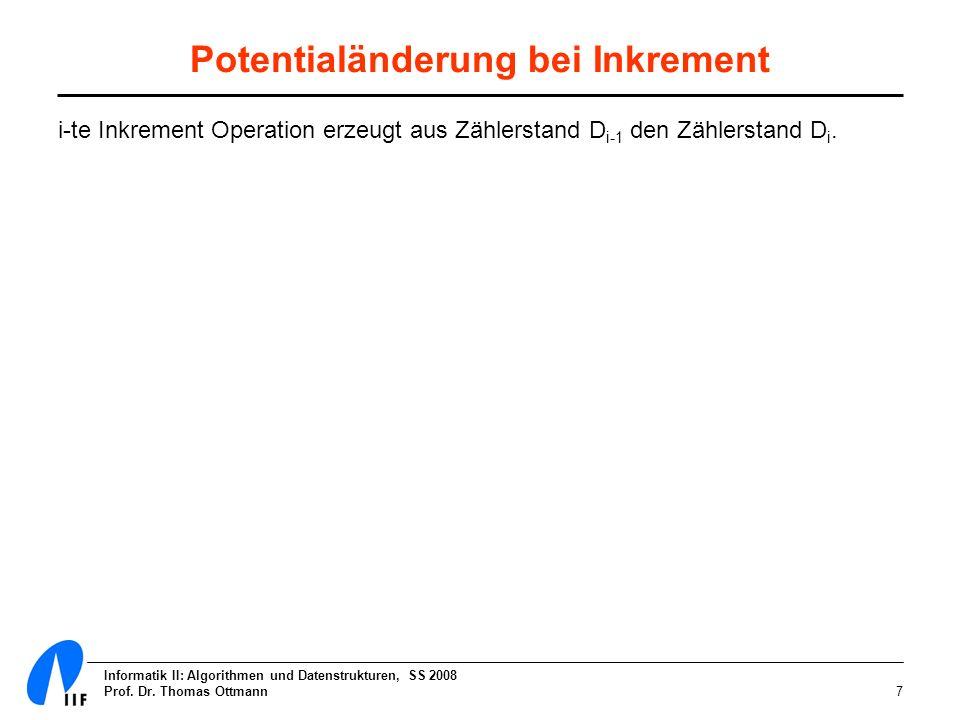 Informatik II: Algorithmen und Datenstrukturen, SS 2008 Prof. Dr. Thomas Ottmann7 Potentialänderung bei Inkrement i-te Inkrement Operation erzeugt aus