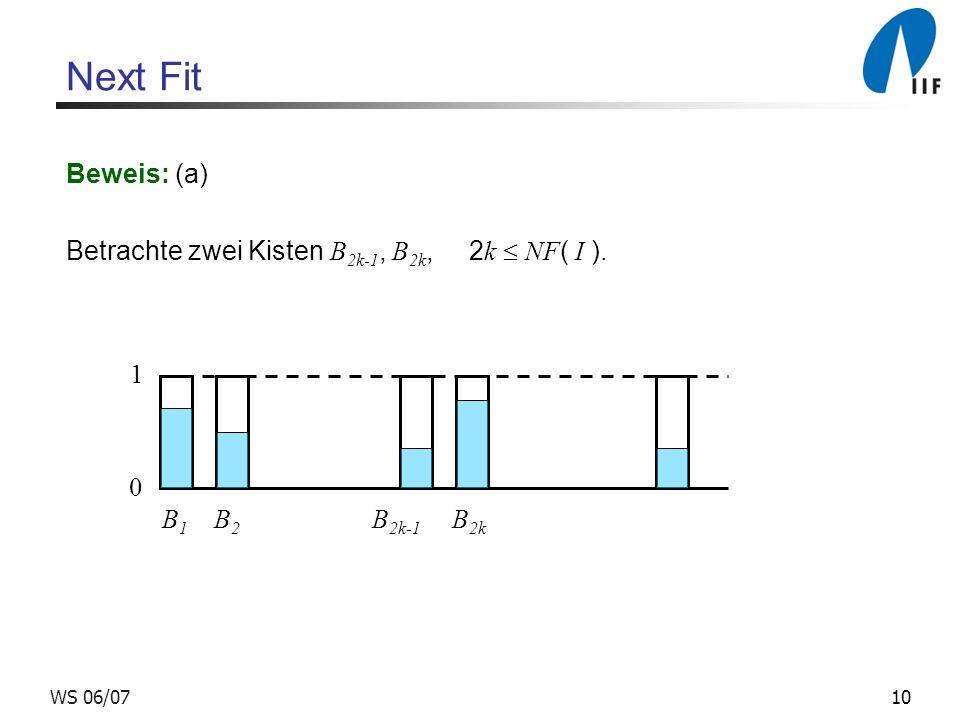 10WS 06/07 Next Fit Beweis: (a) Betrachte zwei Kisten B 2k-1, B 2k, 2 k NF ( I ). 0 1 B 1 B 2 B 2k-1 B 2k