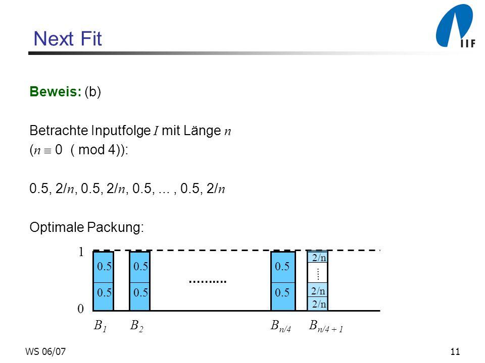 11WS 06/07 Next Fit Beweis: (b) Betrachte Inputfolge I mit Länge n ( n 0 ( mod 4)): 0.5, 2/ n, 0.5, 2/ n, 0.5,..., 0.5, 2/ n Optimale Packung: 0 1 B 1