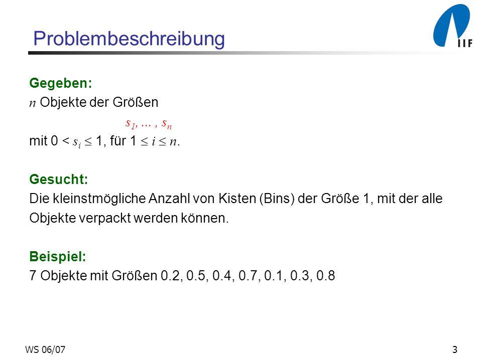 3WS 06/07 Problembeschreibung Gegeben: n Objekte der Größen s 1,..., s n mit 0 < s i 1, für 1 i n. Gesucht: Die kleinstmögliche Anzahl von Kisten (Bin