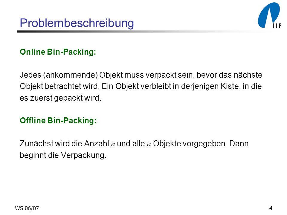4WS 06/07 Problembeschreibung Online Bin-Packing: Jedes (ankommende) Objekt muss verpackt sein, bevor das nächste Objekt betrachtet wird. Ein Objekt v