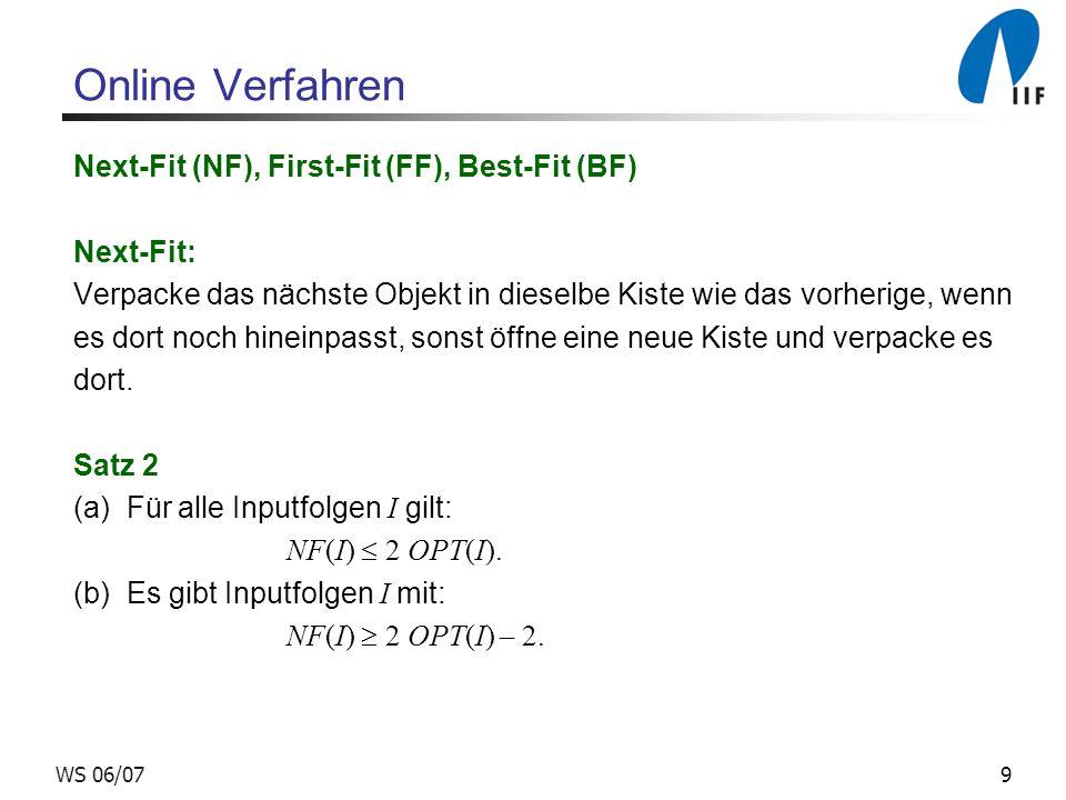 9WS 06/07 Online Verfahren Next-Fit (NF), First-Fit (FF), Best-Fit (BF) Next-Fit: Verpacke das nächste Objekt in dieselbe Kiste wie das vorherige, wen