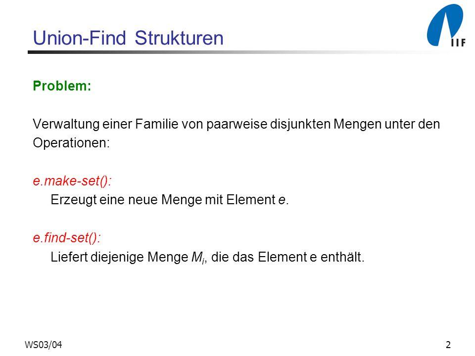 13WS03/04 Vereinigung nach Größe zusätzliches Feld: e.size = (#Knoten im Teilbaum von e) e.make-set() 1 e.parent = e 2 e.size = 1 e.union(f) 1 Link(e.find-set( ), f.find-set( ))