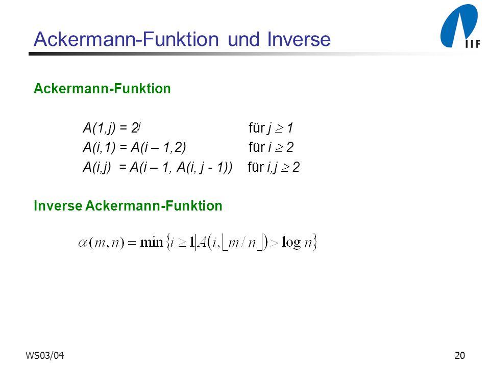 20WS03/04 Ackermann-Funktion und Inverse Ackermann-Funktion A(1,j) = 2 j für j 1 A(i,1) = A(i – 1,2) für i 2 A(i,j) = A(i – 1, A(i, j - 1)) für i,j 2