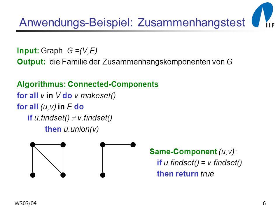6WS03/04 Anwendungs-Beispiel: Zusammenhangstest Input: Graph G =(V,E) Output: die Familie der Zusammenhangskomponenten von G Algorithmus: Connected-Co