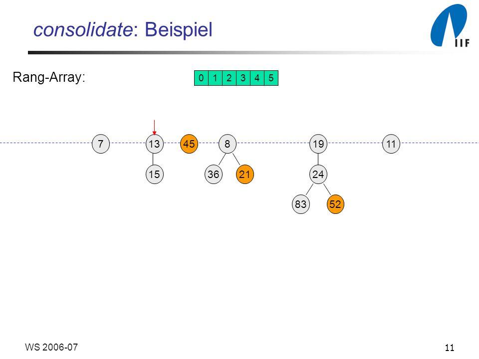 11WS 2006-07 consolidate: Beispiel 1913458 3621 24 15 8352 117 012345 Rang-Array: