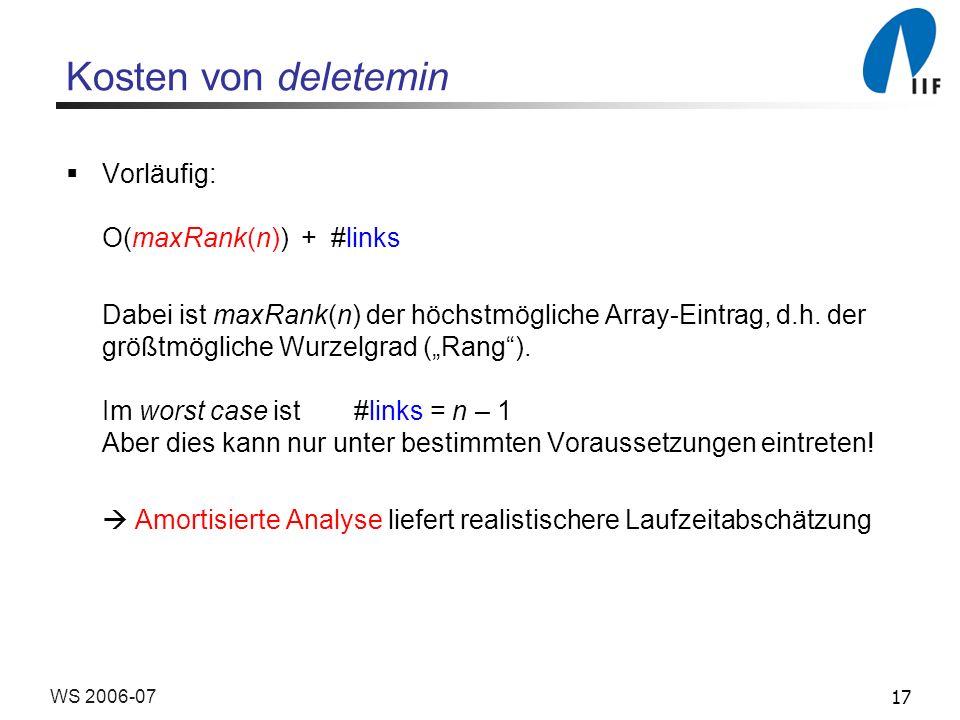 17WS 2006-07 Kosten von deletemin Vorläufig: O(maxRank(n)) + #links Dabei ist maxRank(n) der höchstmögliche Array-Eintrag, d.h. der größtmögliche Wurz
