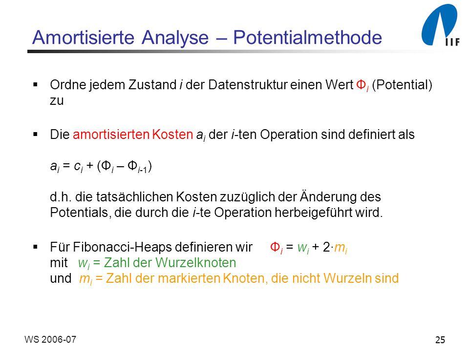 25WS 2006-07 Amortisierte Analyse – Potentialmethode Ordne jedem Zustand i der Datenstruktur einen Wert Ф i (Potential) zu Die amortisierten Kosten a i der i-ten Operation sind definiert als a i = c i + (Ф i – Ф i-1 ) d.h.