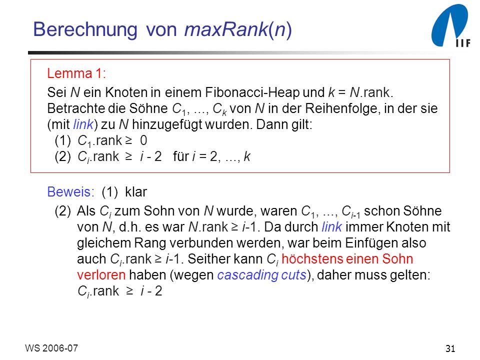 31WS 2006-07 Berechnung von maxRank(n) Lemma 1: Sei N ein Knoten in einem Fibonacci-Heap und k = N.rank. Betrachte die Söhne C 1,..., C k von N in der