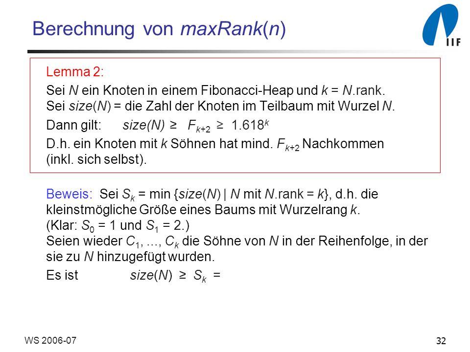32WS 2006-07 Berechnung von maxRank(n) Lemma 2: Sei N ein Knoten in einem Fibonacci-Heap und k = N.rank. Sei size(N) = die Zahl der Knoten im Teilbaum