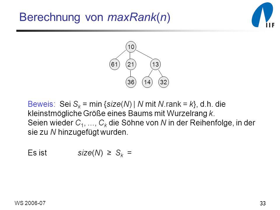 33WS 2006-07 Berechnung von maxRank(n) Beweis: Sei S k = min {size(N) | N mit N.rank = k}, d.h. die kleinstmögliche Größe eines Baums mit Wurzelrang k