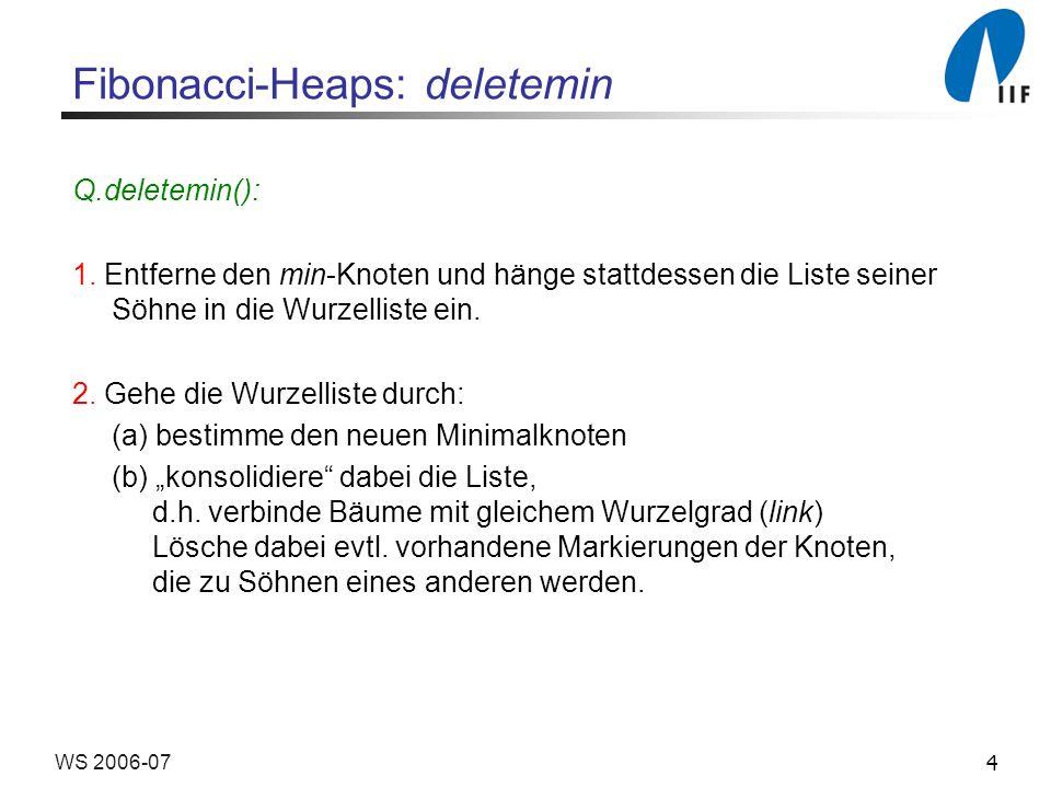 4WS 2006-07 Fibonacci-Heaps: deletemin Q.deletemin(): 1.