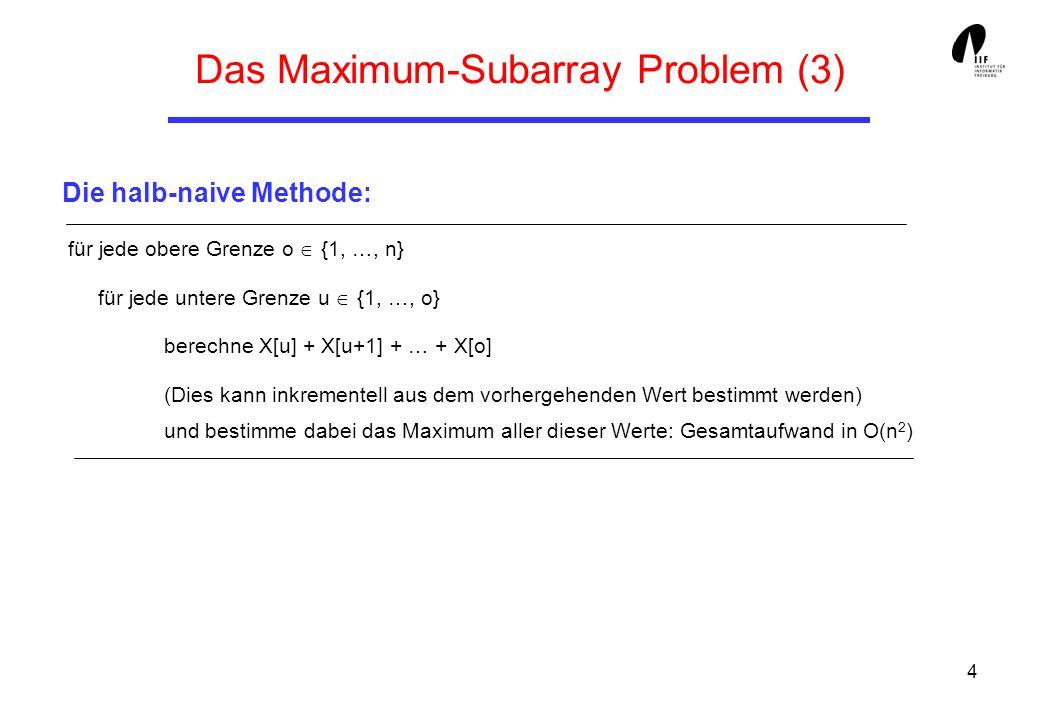 4 für jede obere Grenze o {1, …, n} für jede untere Grenze u {1, …, o} berechne X[u] + X[u+1] + … + X[o] (Dies kann inkrementell aus dem vorhergehenden Wert bestimmt werden) und bestimme dabei das Maximum aller dieser Werte: Gesamtaufwand in O(n 2 ) Das Maximum-Subarray Problem (3) Die halb-naive Methode: