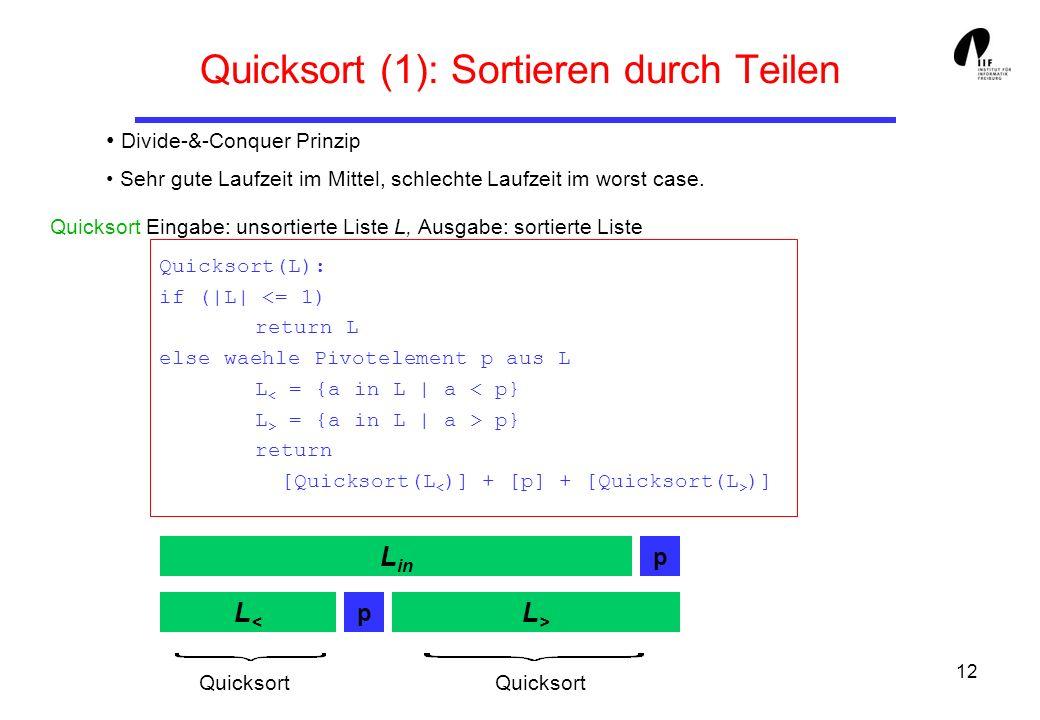 12 Quicksort (1): Sortieren durch Teilen Divide-&-Conquer Prinzip Sehr gute Laufzeit im Mittel, schlechte Laufzeit im worst case. Quicksort Eingabe: u