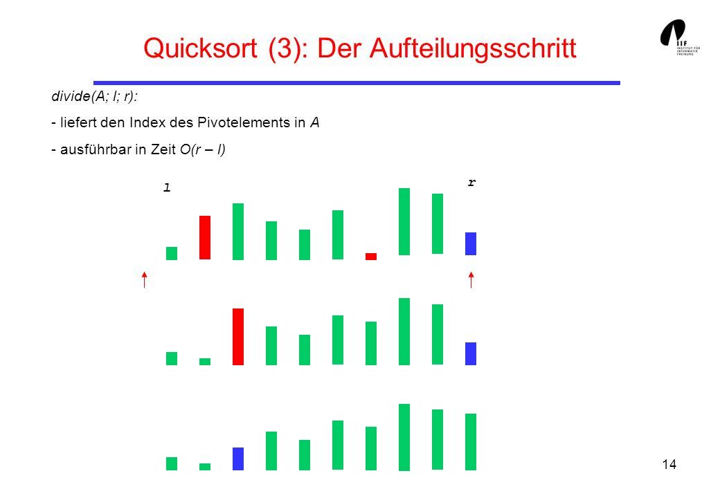 14 Quicksort (3): Der Aufteilungsschritt divide(A; l; r): - liefert den Index des Pivotelements in A - ausführbar in Zeit O(r – l) l r