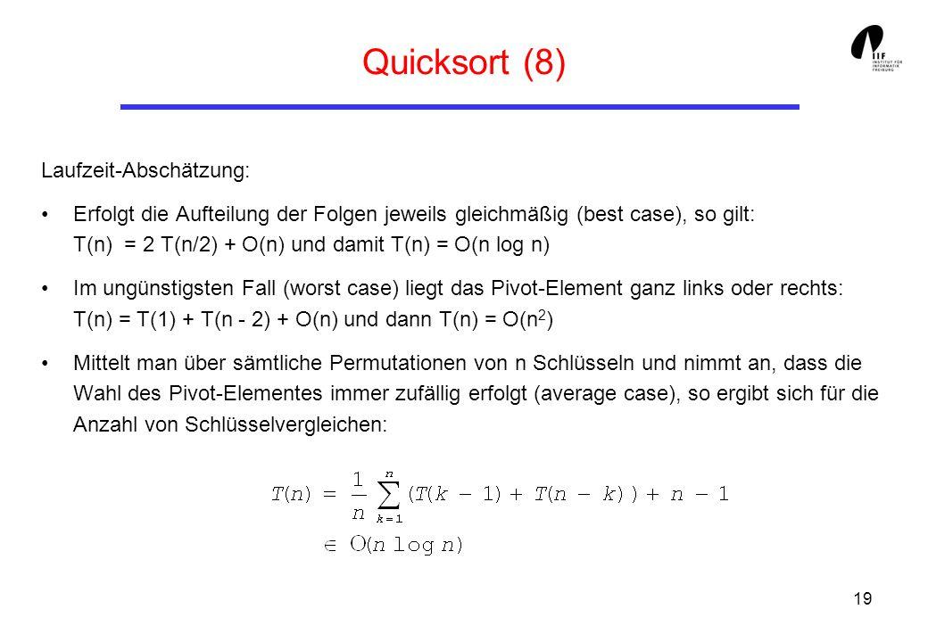 19 Quicksort (8) Laufzeit-Abschätzung: Erfolgt die Aufteilung der Folgen jeweils gleichmäßig (best case), so gilt: T(n) = 2 T(n/2) + O(n) und damit T(