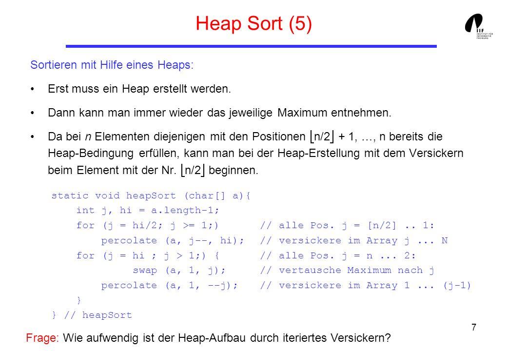 7 Heap Sort (5) Sortieren mit Hilfe eines Heaps: Erst muss ein Heap erstellt werden. Dann kann man immer wieder das jeweilige Maximum entnehmen. Da be