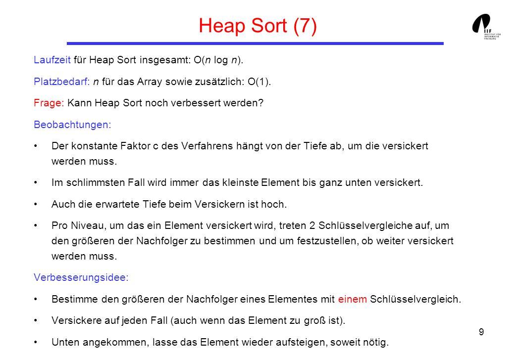 9 Heap Sort (7) Laufzeit für Heap Sort insgesamt: O(n log n). Platzbedarf: n für das Array sowie zusätzlich: O(1). Frage: Kann Heap Sort noch verbesse