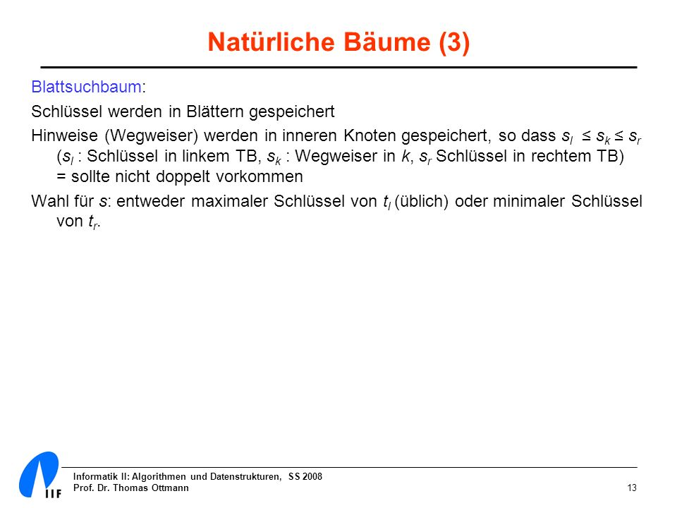 Informatik II: Algorithmen und Datenstrukturen, SS 2008 Prof. Dr. Thomas Ottmann13 Natürliche Bäume (3) Blattsuchbaum: Schlüssel werden in Blättern ge