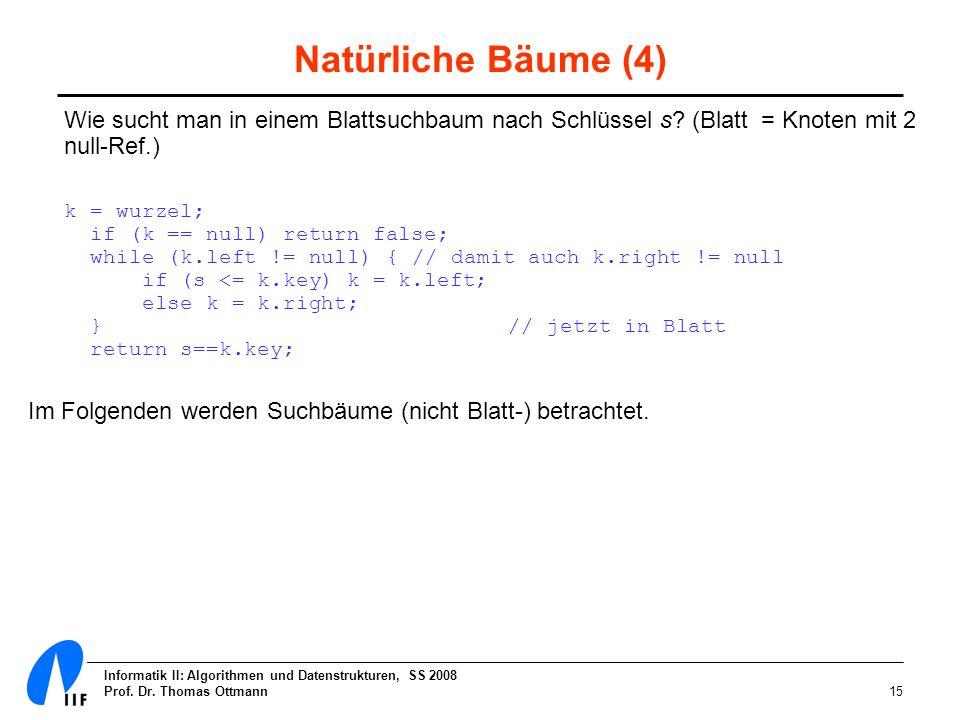 Informatik II: Algorithmen und Datenstrukturen, SS 2008 Prof. Dr. Thomas Ottmann15 Natürliche Bäume (4) Wie sucht man in einem Blattsuchbaum nach Schl