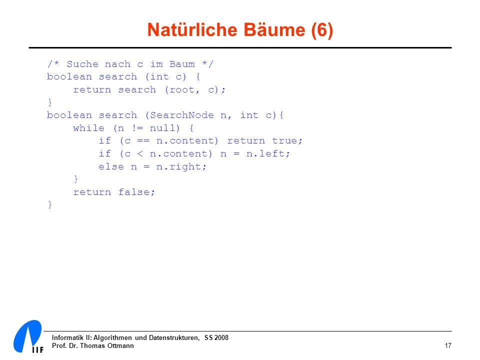 Informatik II: Algorithmen und Datenstrukturen, SS 2008 Prof. Dr. Thomas Ottmann17 Natürliche Bäume (6) /* Suche nach c im Baum */ boolean search (int