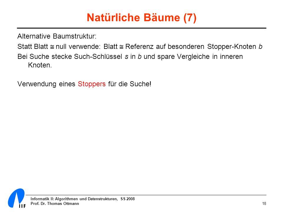 Informatik II: Algorithmen und Datenstrukturen, SS 2008 Prof. Dr. Thomas Ottmann18 Natürliche Bäume (7) Alternative Baumstruktur: Statt Blatt null ver