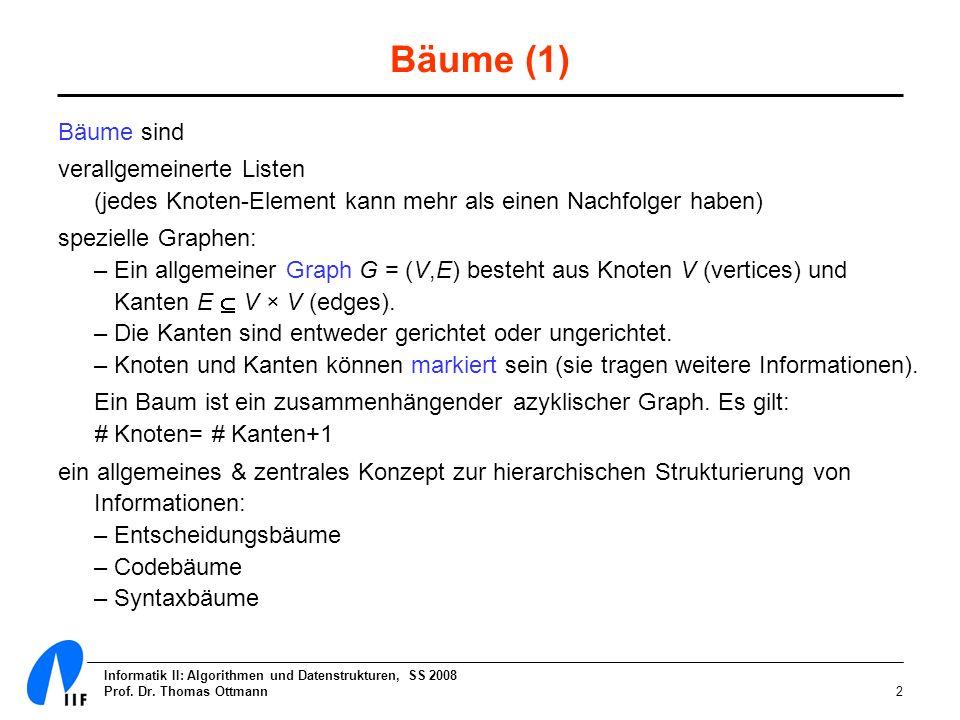 Informatik II: Algorithmen und Datenstrukturen, SS 2008 Prof. Dr. Thomas Ottmann2 Bäume (1) Bäume sind verallgemeinerte Listen (jedes Knoten-Element k