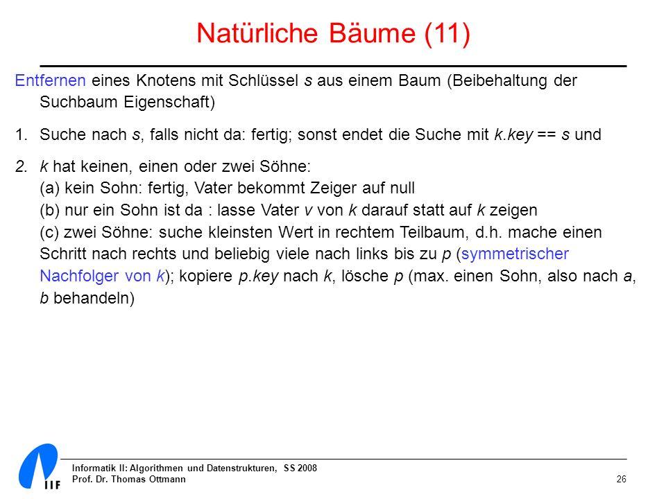Informatik II: Algorithmen und Datenstrukturen, SS 2008 Prof. Dr. Thomas Ottmann26 Natürliche Bäume (11) Entfernen eines Knotens mit Schlüssel s aus e