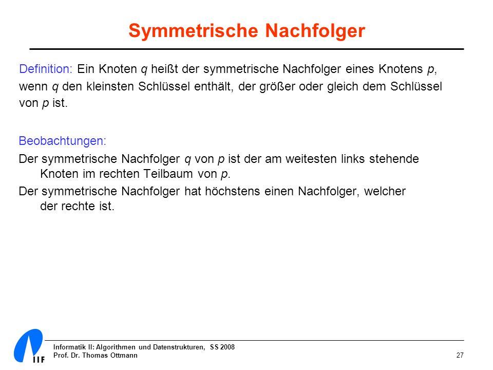Informatik II: Algorithmen und Datenstrukturen, SS 2008 Prof. Dr. Thomas Ottmann27 Symmetrische Nachfolger Definition: Ein Knoten q heißt der symmetri