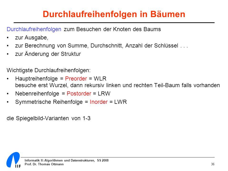 Informatik II: Algorithmen und Datenstrukturen, SS 2008 Prof. Dr. Thomas Ottmann36 Durchlaufreihenfolgen in Bäumen Durchlaufreihenfolgen zum Besuchen