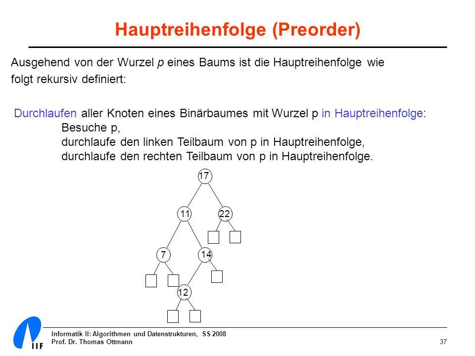 Informatik II: Algorithmen und Datenstrukturen, SS 2008 Prof. Dr. Thomas Ottmann37 Hauptreihenfolge (Preorder) Ausgehend von der Wurzel p eines Baums