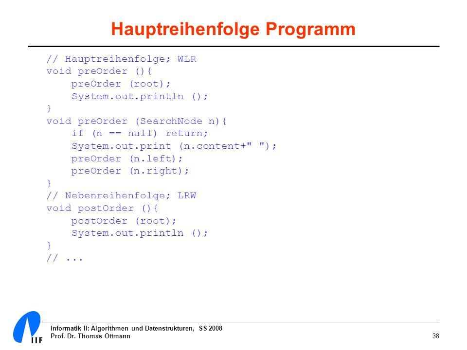 Informatik II: Algorithmen und Datenstrukturen, SS 2008 Prof. Dr. Thomas Ottmann38 Hauptreihenfolge Programm // Hauptreihenfolge; WLR void preOrder ()