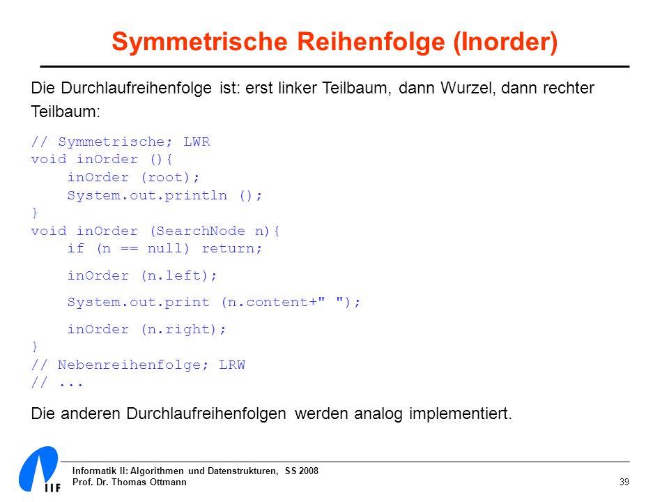 Informatik II: Algorithmen und Datenstrukturen, SS 2008 Prof. Dr. Thomas Ottmann39 Symmetrische Reihenfolge (Inorder) Die Durchlaufreihenfolge ist: er