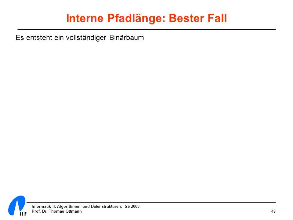 Informatik II: Algorithmen und Datenstrukturen, SS 2008 Prof. Dr. Thomas Ottmann49 Interne Pfadlänge: Bester Fall Es entsteht ein vollständiger Binärb