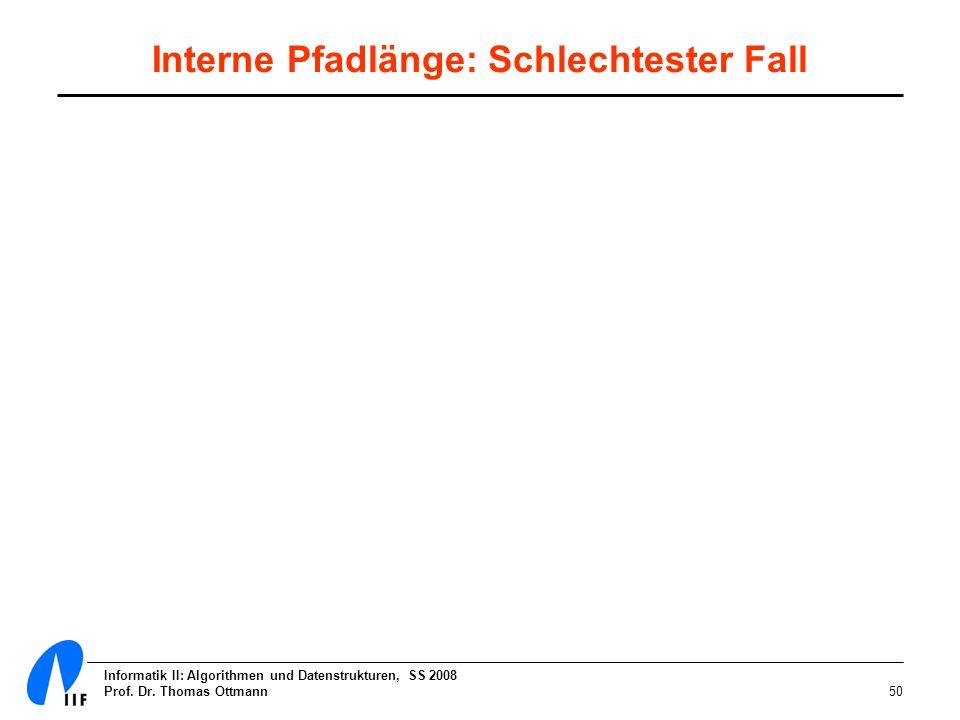 Informatik II: Algorithmen und Datenstrukturen, SS 2008 Prof. Dr. Thomas Ottmann50 Interne Pfadlänge: Schlechtester Fall