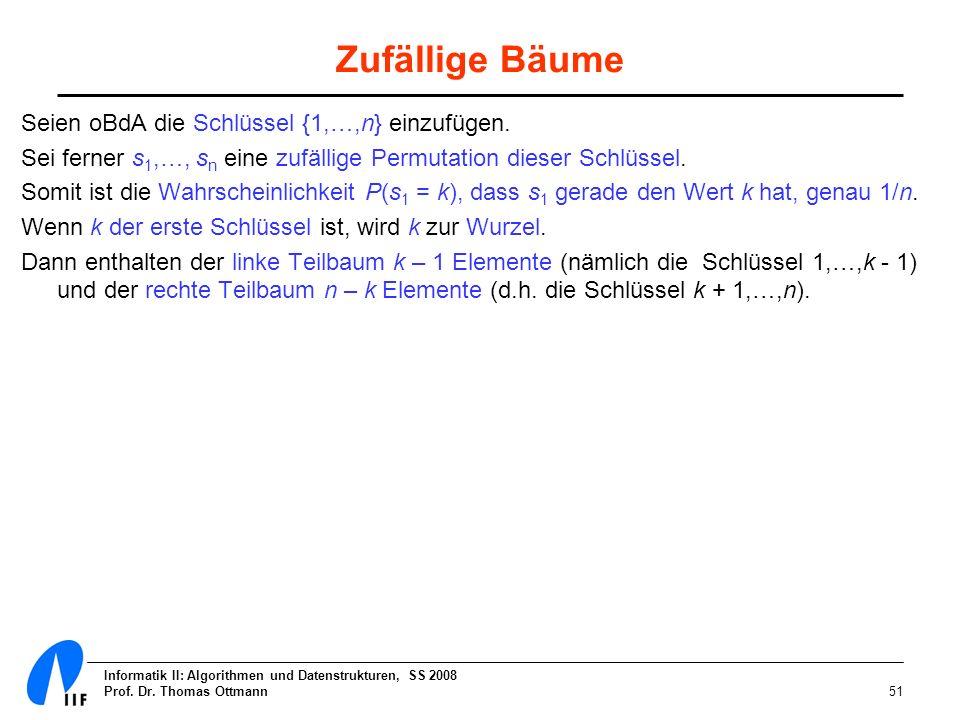 Informatik II: Algorithmen und Datenstrukturen, SS 2008 Prof. Dr. Thomas Ottmann51 Zufällige Bäume Seien oBdA die Schlüssel {1,…,n} einzufügen. Sei fe