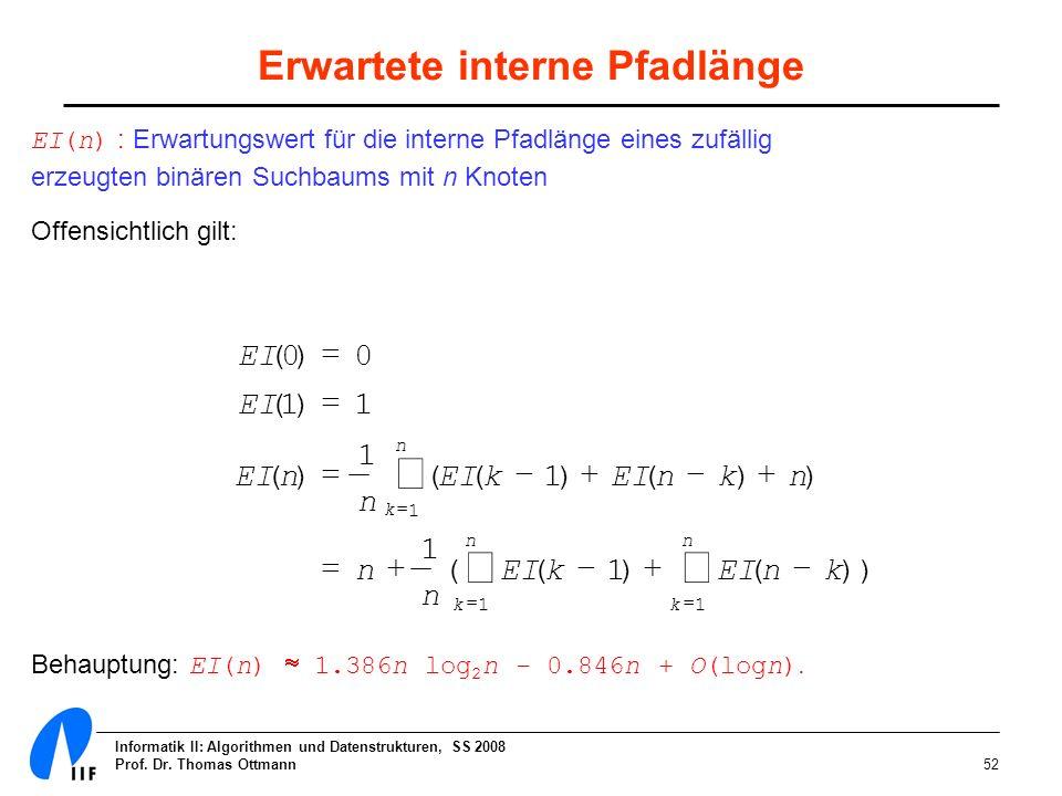 Informatik II: Algorithmen und Datenstrukturen, SS 2008 Prof. Dr. Thomas Ottmann52 Erwartete interne Pfadlänge EI(n) : Erwartungswert für die interne