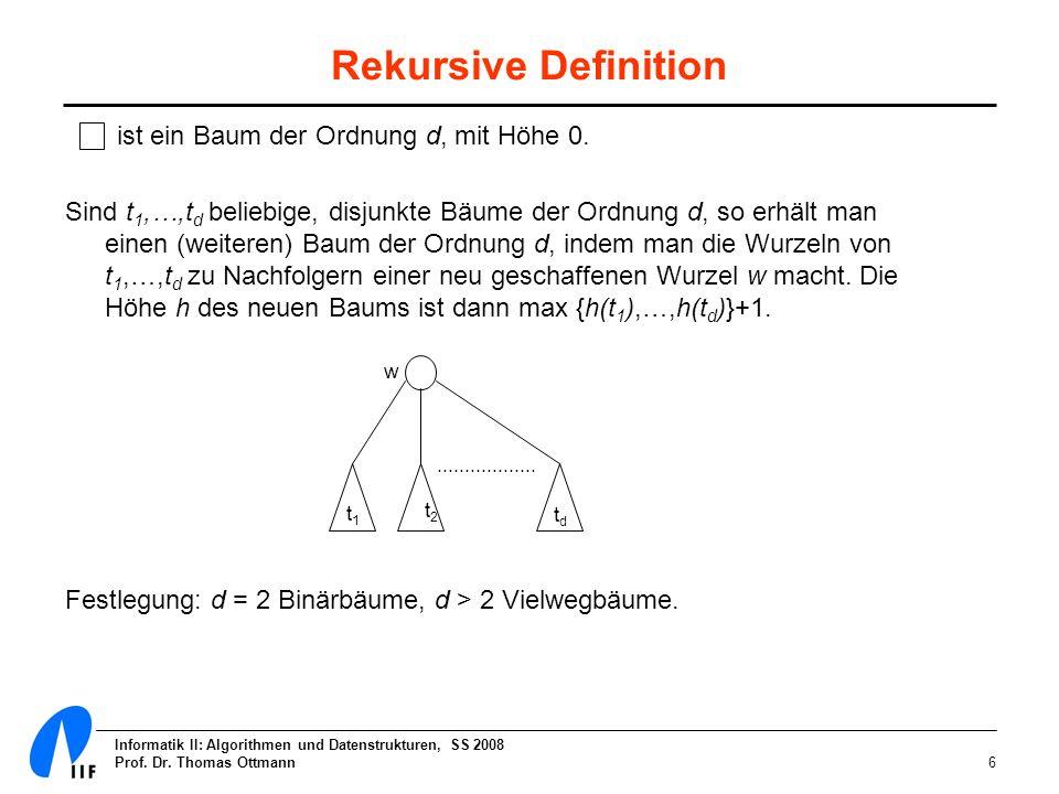Informatik II: Algorithmen und Datenstrukturen, SS 2008 Prof. Dr. Thomas Ottmann6 Rekursive Definition ist ein Baum der Ordnung d, mit Höhe 0. Sind t