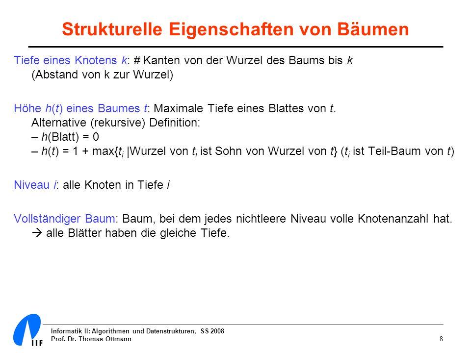 Informatik II: Algorithmen und Datenstrukturen, SS 2008 Prof. Dr. Thomas Ottmann8 Strukturelle Eigenschaften von Bäumen Tiefe eines Knotens k: # Kante
