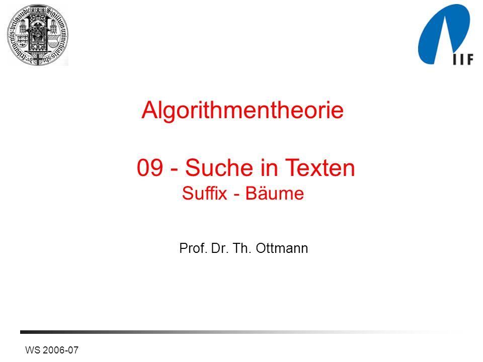 12WS 2006-07 Interne Repräsentation von Suffix-Bäumen Sohn/Bruder-Repräsentation Teilwort: Zahlenpaar (i,j) ab abc b c c c T Beispiel: = ababc