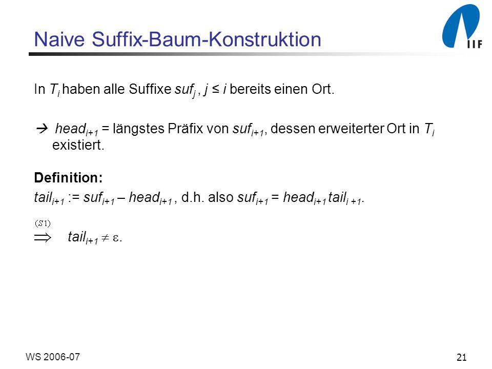 21WS 2006-07 Naive Suffix-Baum-Konstruktion In T i haben alle Suffixe suf j, j i bereits einen Ort. head i+1 = längstes Präfix von suf i+1, dessen erw