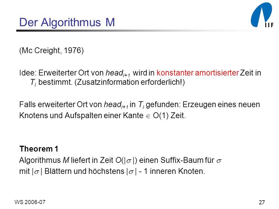 27WS 2006-07 Der Algorithmus M (Mc Creight, 1976) Idee: Erweiterter Ort von head i+1 wird in konstanter amortisierter Zeit in T i bestimmt. (Zusatzinf