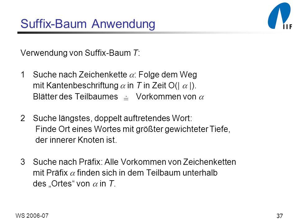 37WS 2006-07 Suffix-Baum Anwendung Verwendung von Suffix-Baum T: 1Suche nach Zeichenkette : Folge dem Weg mit Kantenbeschriftung in T in Zeit O(| |).