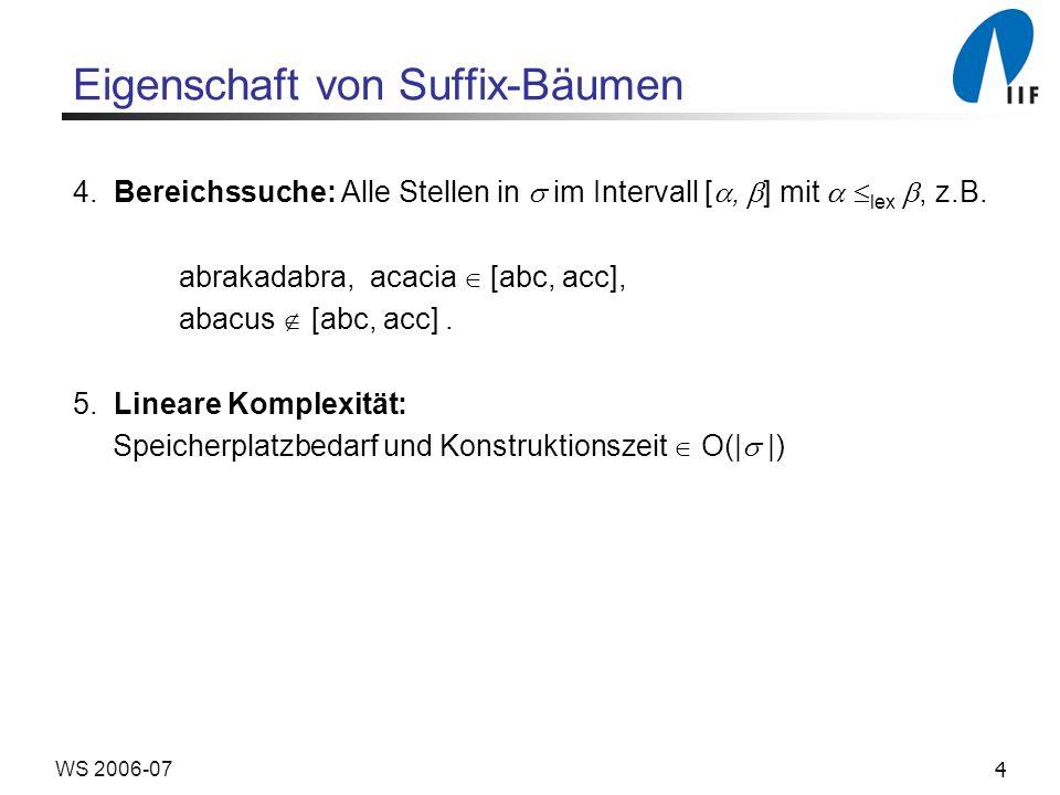 25WS 2006-07 Naive Suffix-Baum-Konstruktion Algorithmus Suffix-Einfügen Input: Der Baum T i und der Suffix suf i+1 Output: Der Baum T i+1 1v := Wurzel von T i 2j := i 3repeat 4finde Sohn w von v mit w.u = j+1 5k := w.u – 1; 6while k < w.o and k+1 = j+1 do 7 k := k +1; j := j + 1 end while