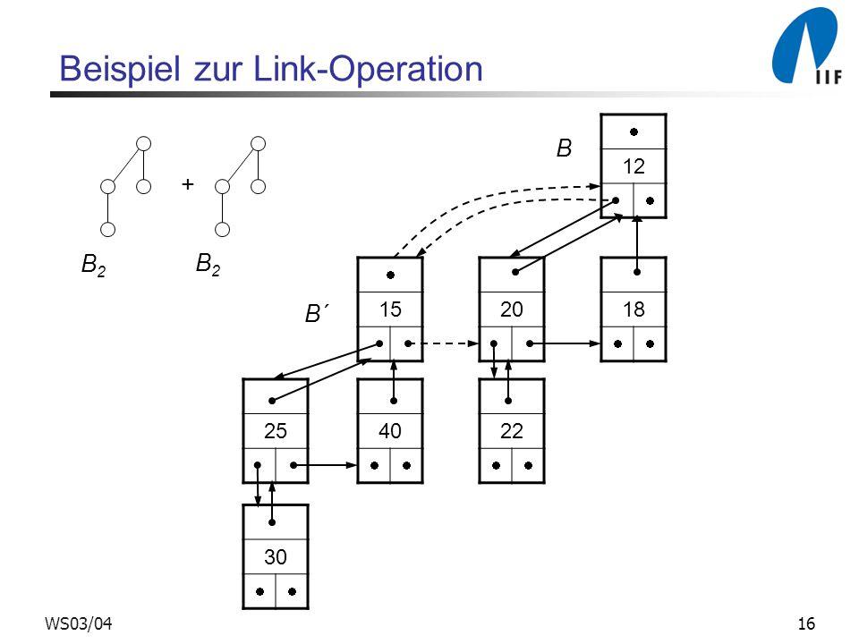 16WS03/04 Beispiel zur Link-Operation + 12 18 20 1522 40 2530 B B2B2 B2B2 B´